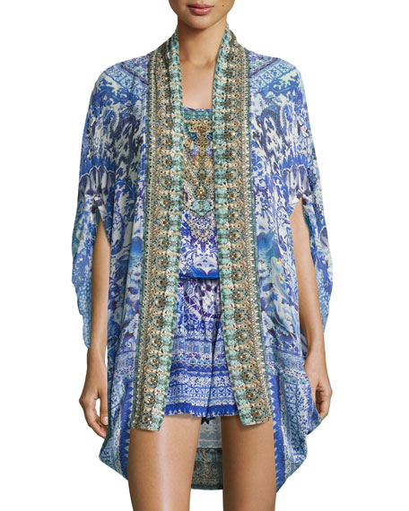 Camilla Open-Front Embellished Silk Cardigan/Cape Coverup,