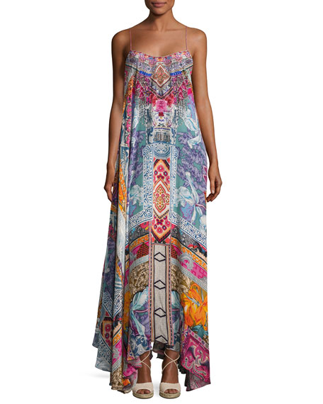 Camilla Embellished Crepe Full Maxi Dress, Multicolor