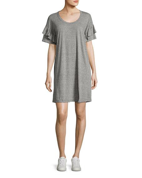 Current/Elliott The Ruffle Roadie T-Shirt Dress, Gray/Red