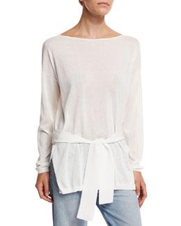 Elise Long-Sleeve Semisheer Cropped-Back Top, Ivory