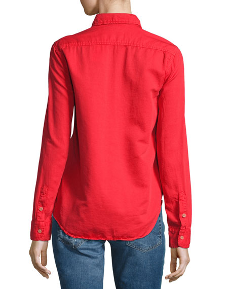 Double Foxy Button-Front Shirt, Spice (Red)