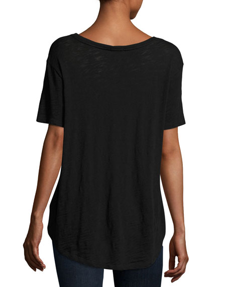 Slub Jersey Cotton Boyfriend Tee, Black