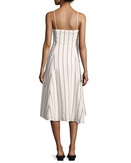 Kayleigh Wide-Stripe Linen Sundress, White