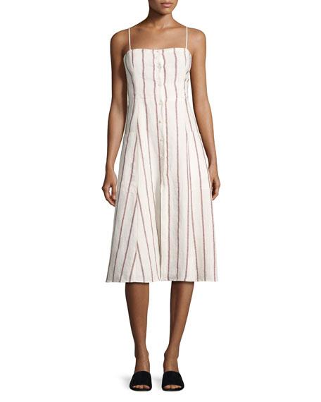 Kayleigh Wide-Stripe Linen Sundress, White