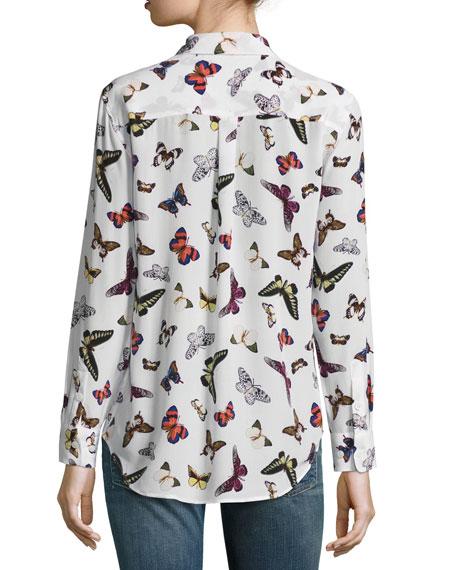 Slim Signature Butterfly-Print Long-Sleeve Shirt, White