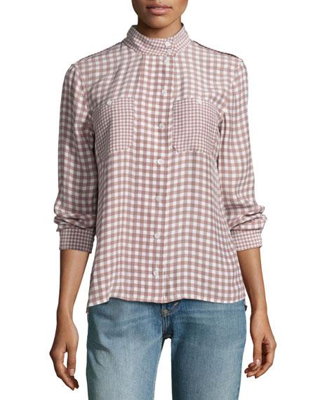 Alma Gingham Stand-Collar Silk Shirt, Pink/White