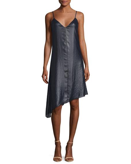Sleeveless Asymmetric Lacquered Crepe Dress, Navy