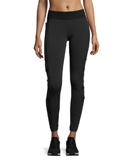 Desire Mesh-Arrow Performance Leggings, Black