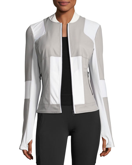 Blanc Noir Run Mesh-Panel Bomber Jacket, Gray/White