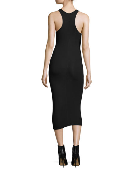 Ribbed Racerback Midi Dress, Black