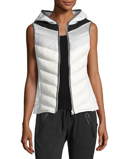 Packable Quilted Moto Vest with Hood, Gray/White