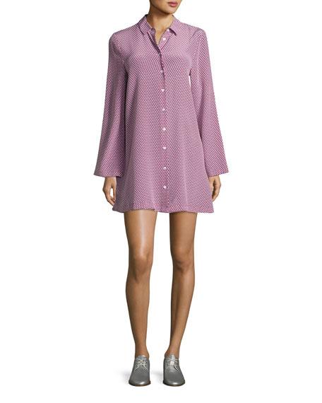 Equipment Lenox Long-Sleeve Silk Shirtdress, Red