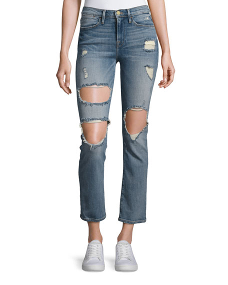 Le High Straight Distressed Jeans, Le Debs