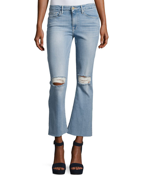 Le Crop Mini Boot-Cut Jeans with Raw Edge,