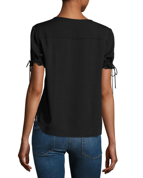 Tie-Cuff Short-Sleeve Crepe Shirt, Black