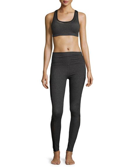 Mesh Behavior High-Waist Performance Leggings, Heather Gray