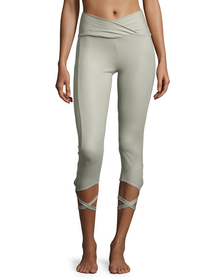 Ballerina Capri Athletic Leggings, Stone Fishnet