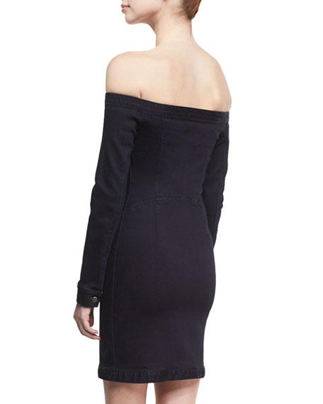 Mika Off-the-Shoulder Denim Mini Dress, Black