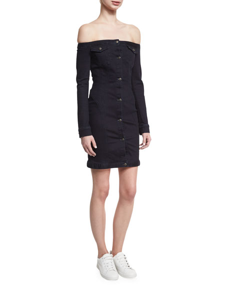 Mika Off-the-Shoulder Denim Mini Dress, Black