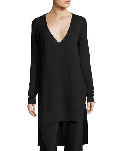 Long-Sleeve V-Neck Knit Tunic