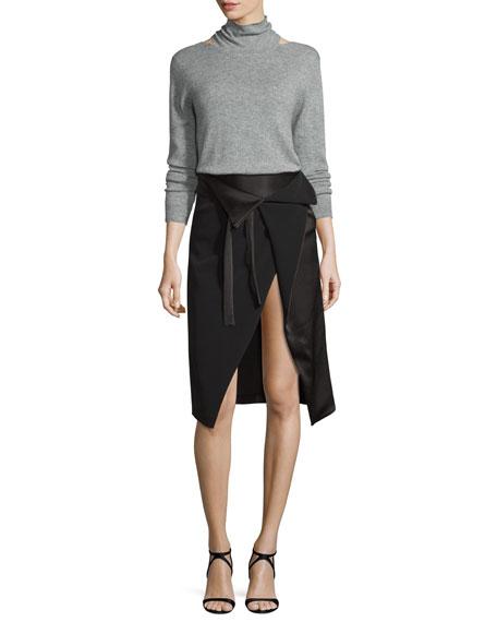 Long-Sleeve Mock-Neck Sweater w/ Cutouts, Heather Gray
