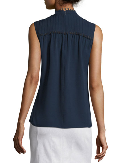 Sleeveless Pintucked Silk Blouse, Navy