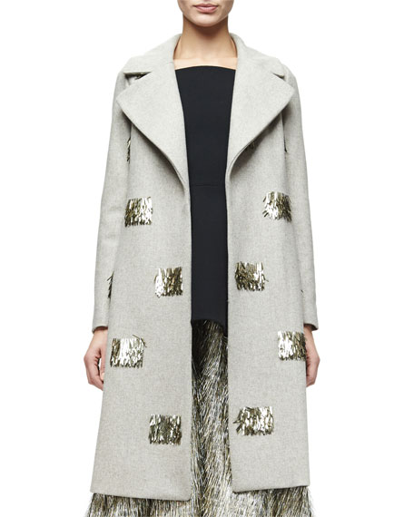Metallic Fringe-Embellished Long Coat, Taupe/Gold