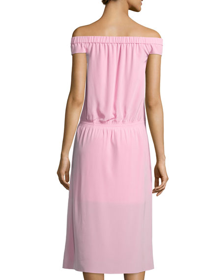 Silk Off-the-Shoulder Midi Dress, Pink