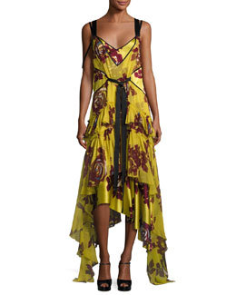 Sable Tie-Waist Tiered Floral Dress, Chartreuse Multicolor