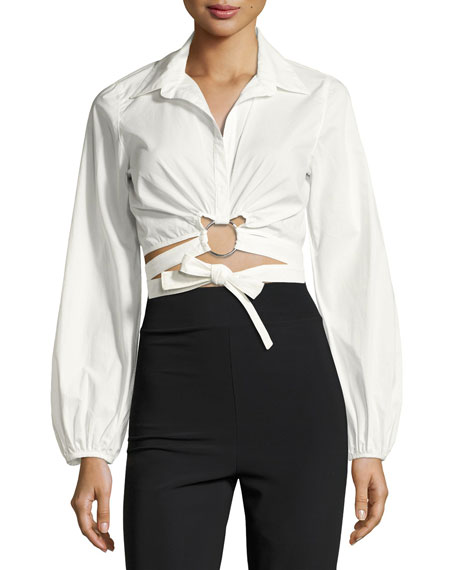 Trillian Tie-Front Cropped Shirt, White