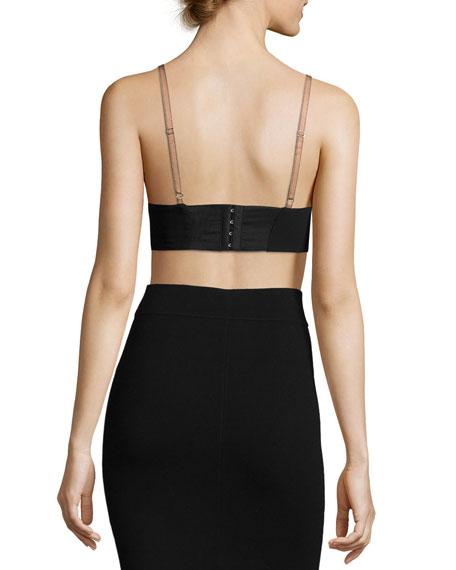 Toria Crepe Bralette Crop Top, Black/Rosetta