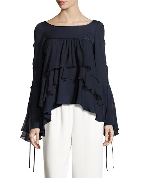 Tessa Tiered Silk Ruffle Top, Navy