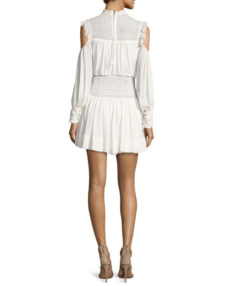 Shahla Cold-Shoulder Silk Blouson Mini Dress, Ivory