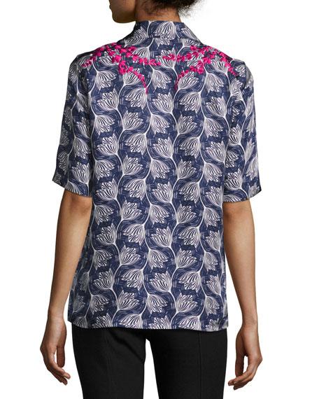 Dani Embroidered Floral Half-Sleeve Shirt, Blue/Multicolor
