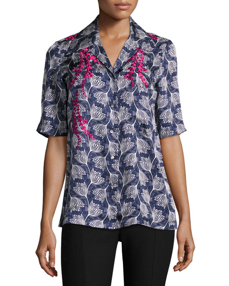 Dani Embroidered Floral Half-Sleeve Shirt, Blue/Multicolor