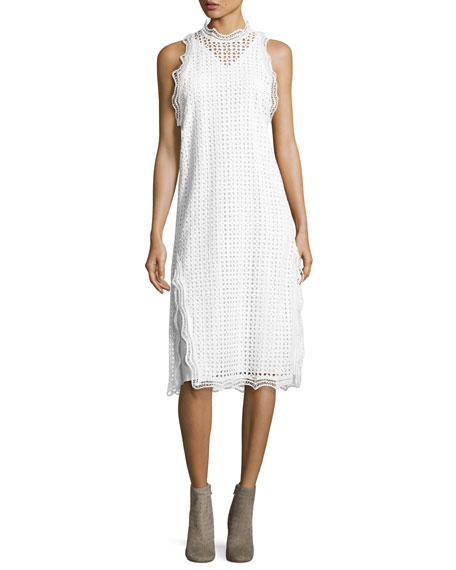 Vicki Sleeveless Eyelet Midi Dress, White