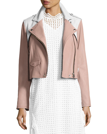 Annik Colorblock Leather Moto Jacket, Pink