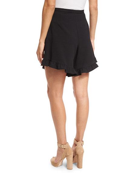 Stretch Crepe High-Rise Ruffle Shorts, Black