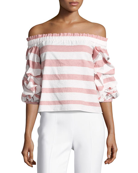 Alexis Juneau Wide-Stripe Off-the-Shoulder Top, Pink/White
