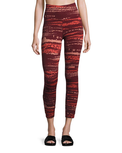 Motivation Strappy Printed Leggings  Red