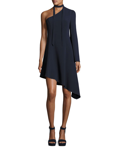 Kierra One-Shoulder Asymmetric Dress, Navy