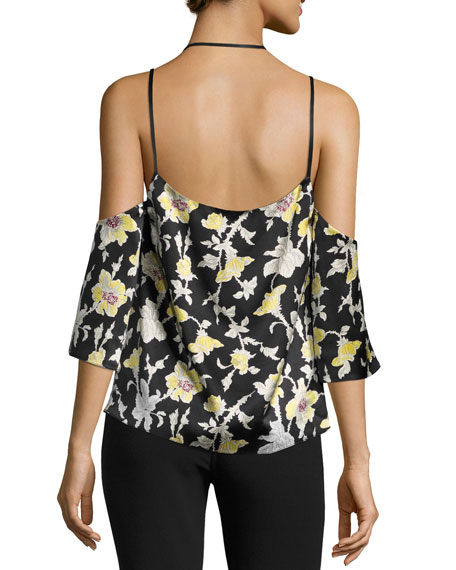 CINQ À SEPT Rayna Floral Cold-Shoulder Top, Green/Black
