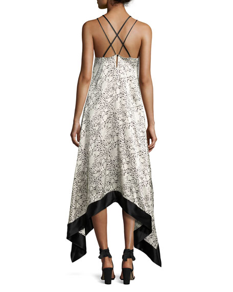 CINQ À SEPT Somiya Sleeveless Handkerchief-Hem Dress, Black/White