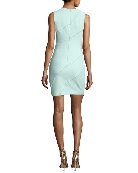Josie Fringe-Trim Sleeveless Dress, Light Aqua Blue