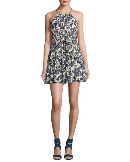 cinq a sept Lotus Floral Silk Sleeveless Mini