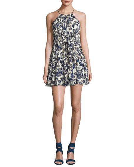Lotus Floral Silk Sleeveless Mini Dress, Blue/White