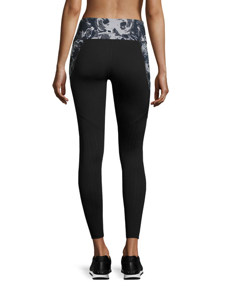 Motivation Mesh Performance Leggings, Black Roses Print