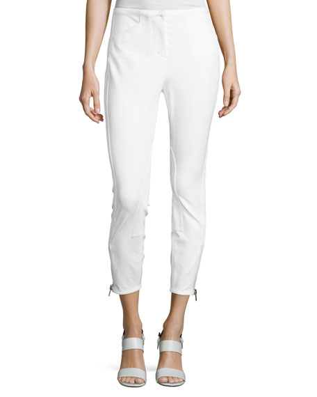 Jodhpur Ankle-Zip Leggings, Antique White