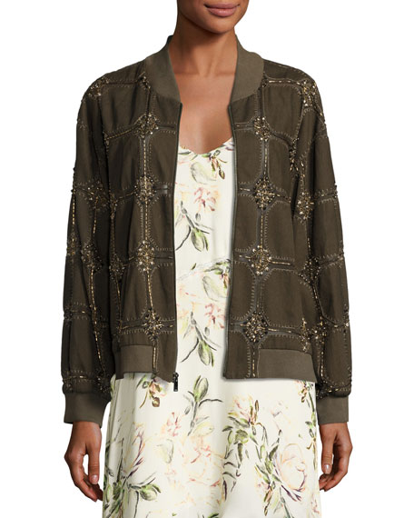 Believe Embellished Bomber Jacket, Olive