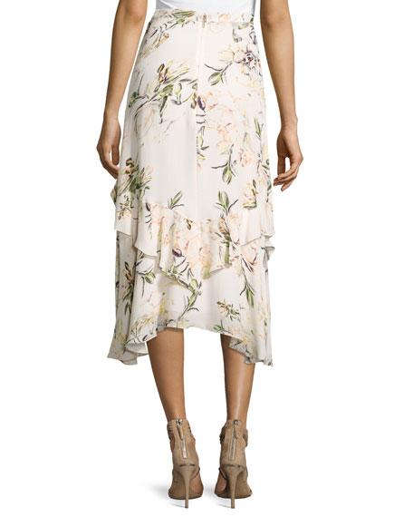 The Garden Floral Silk Midi Skirt, White